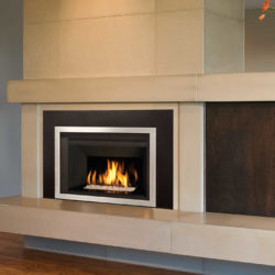 Valor Fireplace Inserts G4 Murano Glass Fluted Black Liner Reflective Glass Panel Edgemont