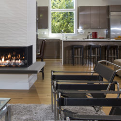 Valor Gas Fireplaces Corner Right with Rock and Shale Reflective Glass Liner