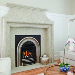 Valor Gas Fireplaces Portrait Classic Arch Coals Fluted Black Liner