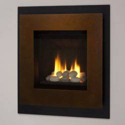 Valor Gas Fireplaces Portrait ZC Ledge Rocks Fluted Black Liner Patina
